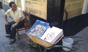 Fish vendor in Cadiz