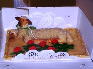 The sacred lamb reproduced in cake form, Lebrija